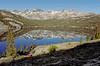 Waugh Lake, Mt. Davis, Ritter Range.  Island Pass, l.; Dononohue Pass, r.<br /> Ansel Adams Wilderness, Sierra National Forest, Mono Co., CA, 7/17/91