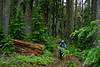 Martha in the rain.<br /> Three Sisters Wilderness, Willamette National Forest, Lane Co., OR 8/6/04