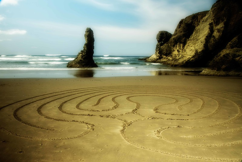 A creation on the beach at Bandon, Oregon by Denny Dyke and Christine Moehring, known by the moniker Circles in the Sand.<br /> Photo © Cindy Clark