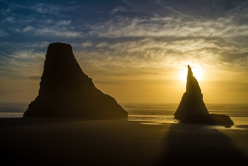 Sea stacks on the beach at Bandon, Oregon.<br /> Photo © Carl Clark