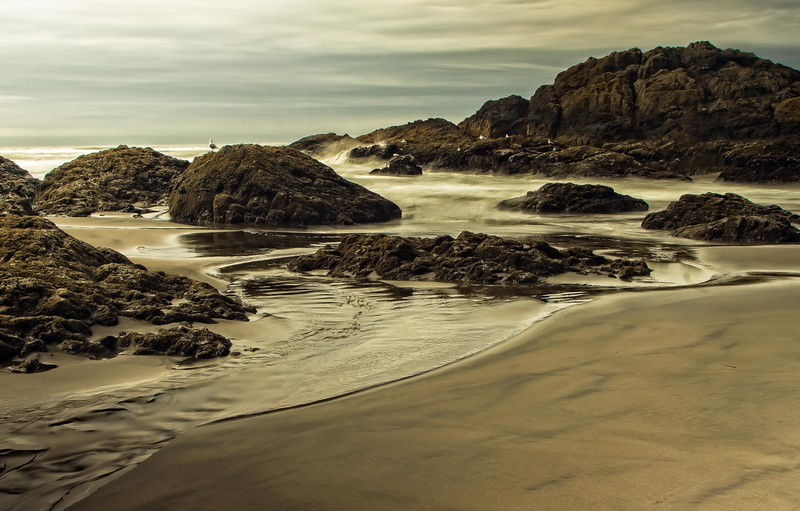 This beach can be found at Cape Disappointment, Washington.<br /> Photo © Cindy Clark