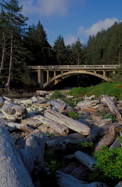 Ubiquitous McCullough bridge at Cummins Creek on the Oregon Coast, one of over 600 bridges designed by the legendary engineer.<br /> Photo © Carl Clark