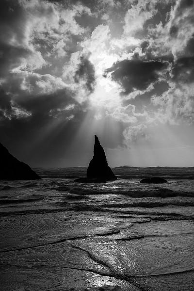 Sun 'n surf at Bandon, Oregon.<br /> Photo © Carl Clark