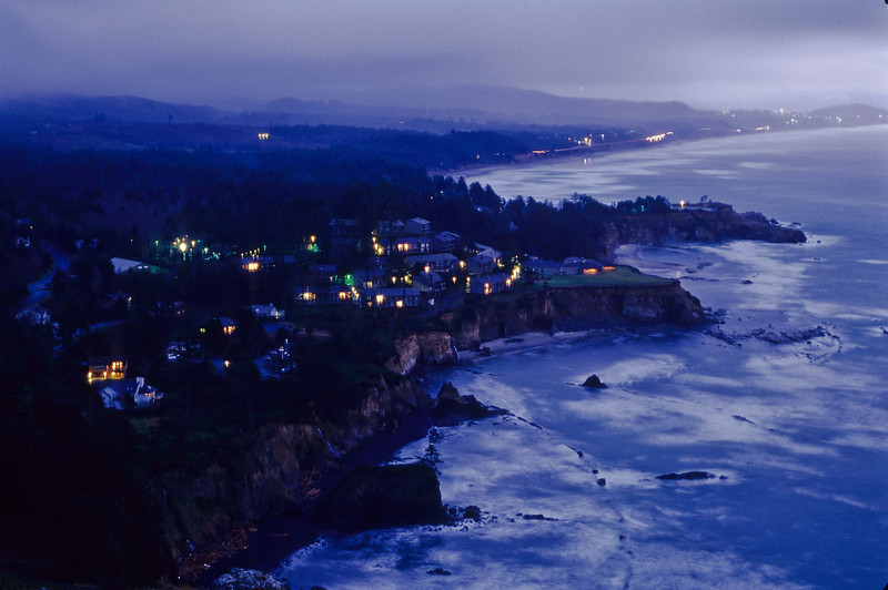 Night falls on Newport, Oregon - one of my all-time favorite towns.<br /> Photo © Cindy Clark