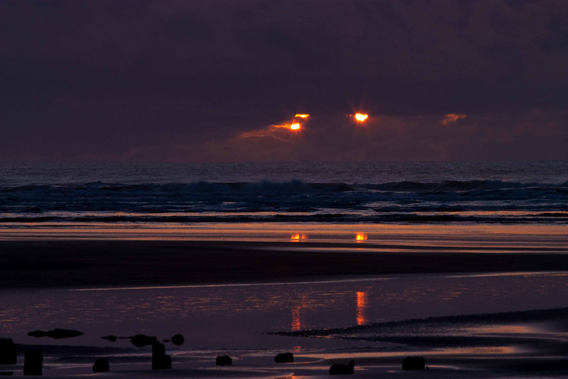Two suns!  Both setting!  Washington Coast.<br /> Photo © Carl Clark