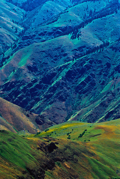 Vertigo-inducing lines with hallucinogenic colors - Hell's Canyon is a geologic wonder.<br /> Photo © Cindy Clark