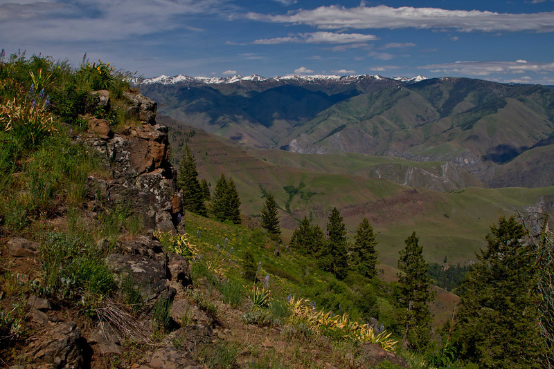 Seven Devil's Mountains in the distance at Hell's Canyon in Oregon.<br /> Photo © Carl Clark