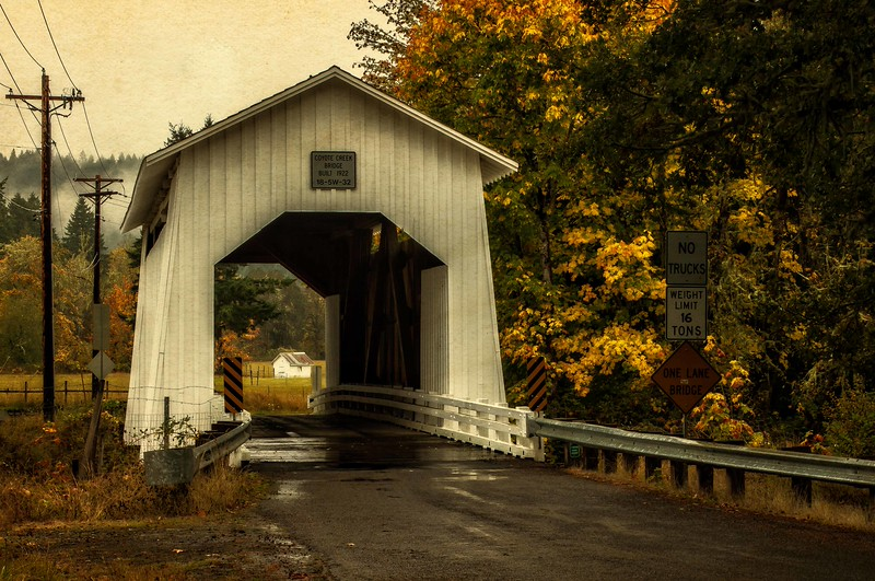 Yes,  we have covered bridges here on the west coast!  This is one of several in Oregon.<br /> Photo © Cindy Clark