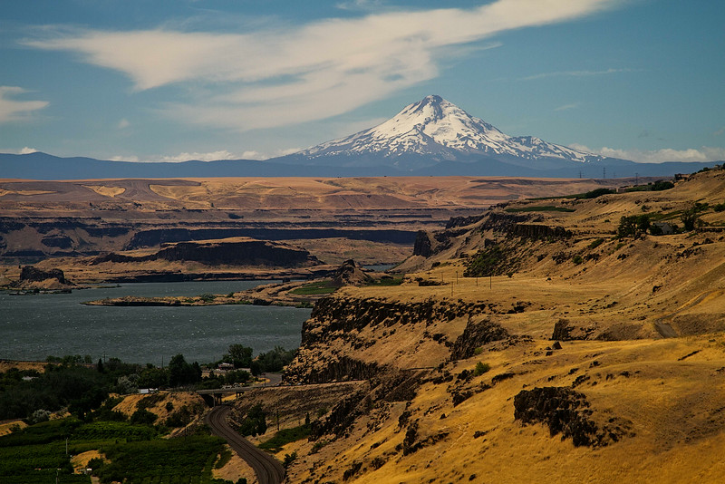 Mt Hood hovers over the Columbia River.<br /> Photo © Carl Clark
