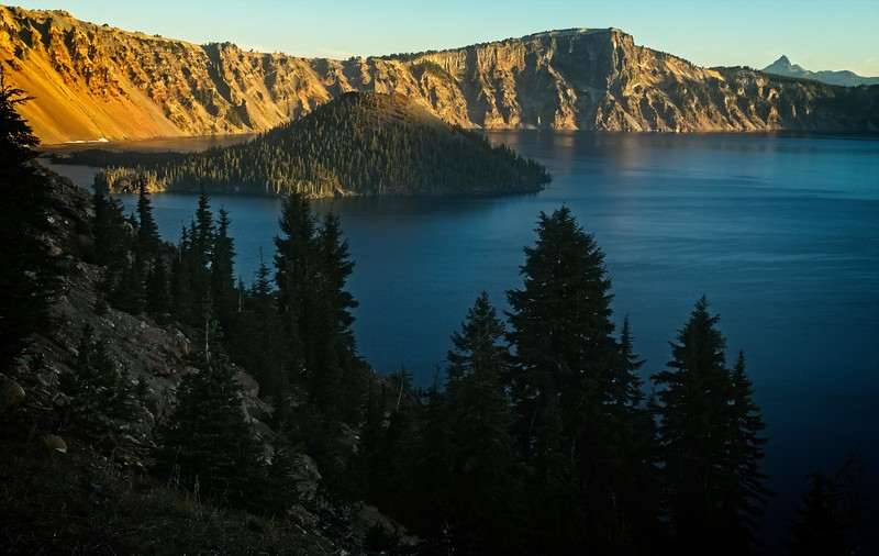Morning sun on Wizard Island, Crater Lake<br /> Photo © Cindy Clark