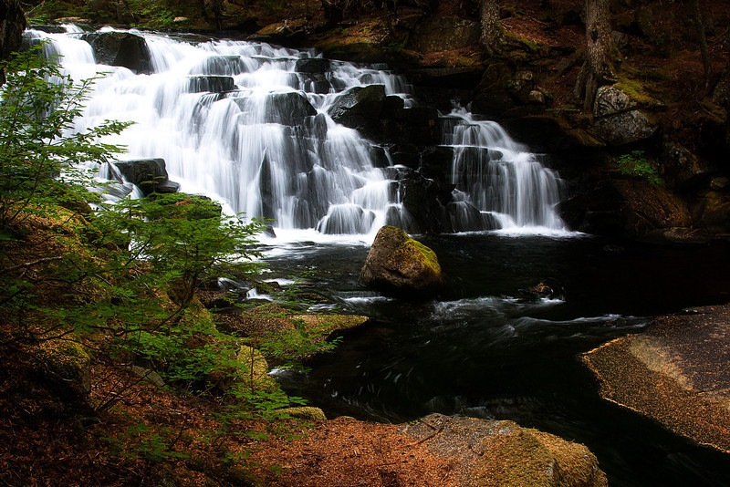 Picture-perfect McIntosh Falls on Goat Lake Trail in the North Cascades.<br /> Photo © Cindy Clark