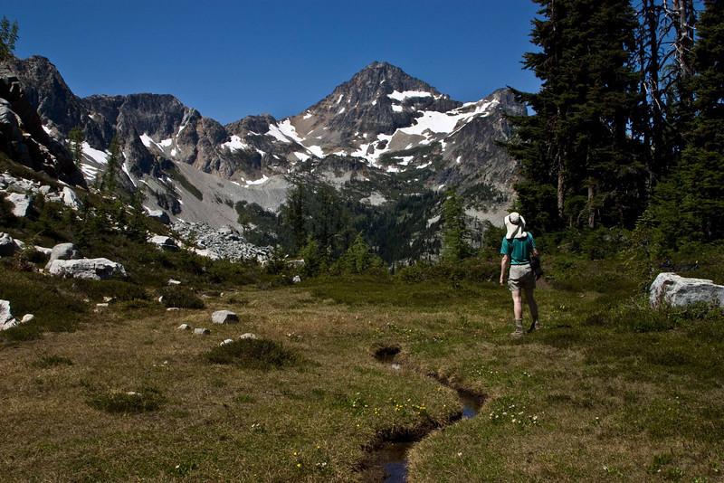 Admiring Black Peak from Maple Pass - Washington Cascades.<br /> Photo © Carl Clark