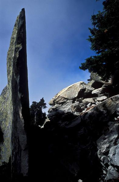 Rock spire on Mt Pilchuck - Washington Cascades.<br /> Photo © Carl Clark