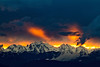 Fiery sunset over Mt Constance and Warrior Peak - Washington Olympic Mts.<br /> Photo © Carl Clark