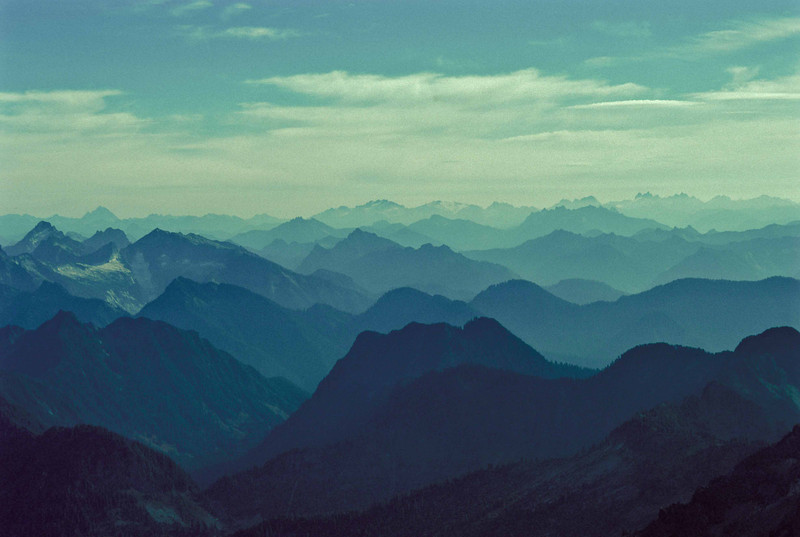 Endless ridges from the Three Fingers lookout - Washington Cascades.<br /> Photo © Carl Clark