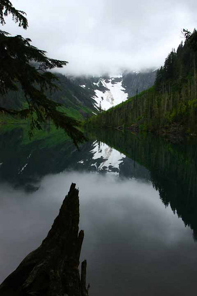 Calm and clouds at Goat Lake - Washington Cascades.<br /> Photo © Carl Clark