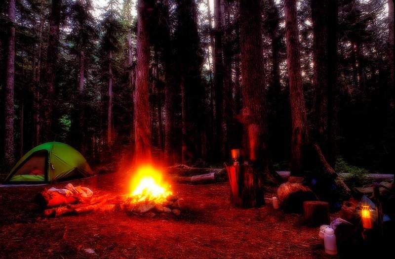 Camp Comfort on the LaBohn Gap trail - Washington Cascades.<br /> Photo © Carl Clark