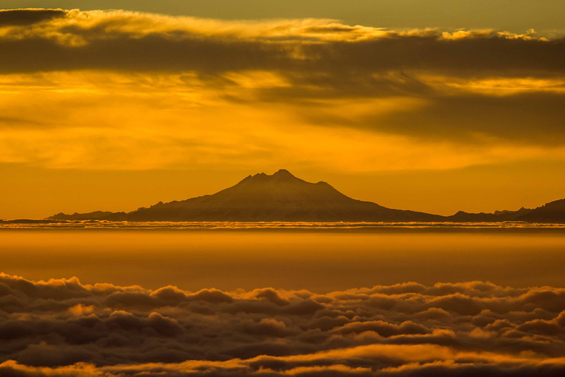 Glacier Peak rises above a sea of clouds as seen from the summit of Mt Townsend in the Olympic Mountains.<br /> Photo © Carl Clark