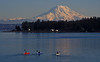 Paddling near Gig Harbor toward Mt Rainier.<br /> Photo © Carl Clark