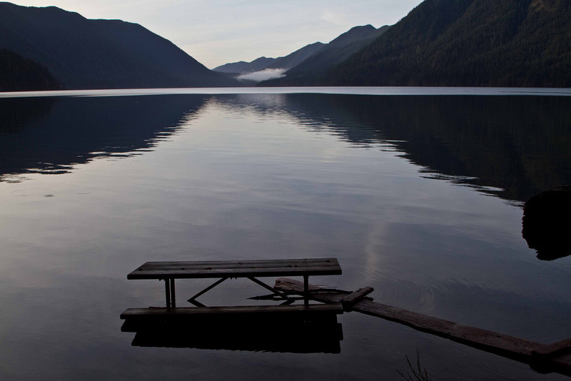 Not much of a winter picnic opportunity at Lake Crescent on the Olympic Peninsula.<br /> Photo © Carl Clark