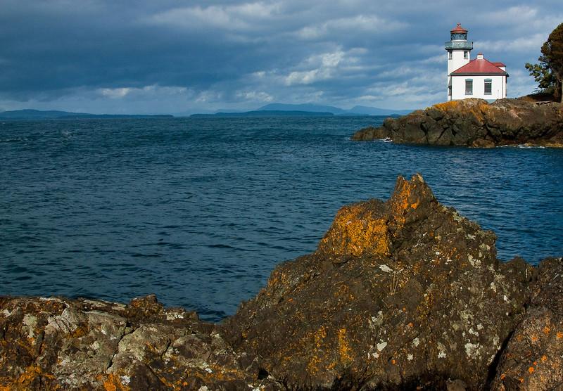 Lime Kiln Lighthouse on San Juan Island, Puget Sound Washington.<br /> Photo © Cindy Clark