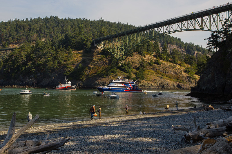 It's all happening: Fishing, sightseeing and working tugboats at Deception Pass.<br /> Photo © Carl Clark