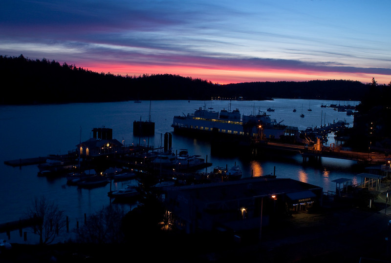 Dawn comes to Friday Harbor on San Juan Island.<br /> Photo © Cindy Clark