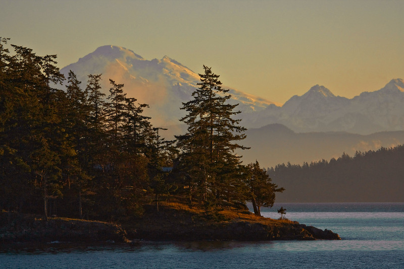 View of Mt. Baker from the Anacortes ferry in Puget Sound.<br /> Photo © Cindy Clark