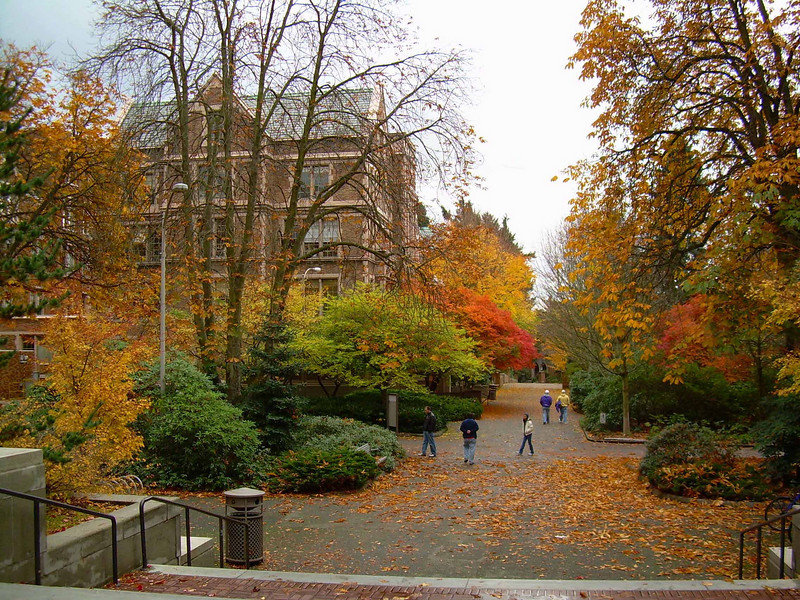 Autumn comes to the University of Washington campus in Seattle.<br /> Photo © Carl Clark