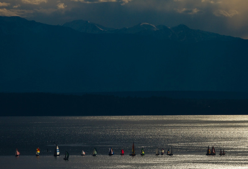 Backlit spinnakers on sailboats on Puget Sound Washington.<br /> Photo © Cindy Clark