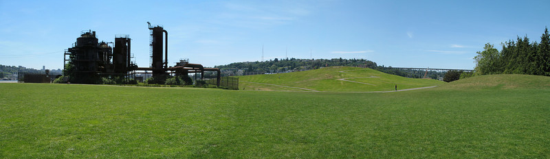 Gas Works Park, Seattle, WA - Panorama made with 3 regular shots and stitched in Photoshop Elements.