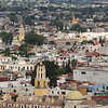 A line of cathedrals in Cholula, Mexico