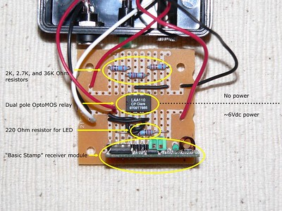 Component side of circuit board showing wiring to power supply, LED power indicator, and remote connection to camera