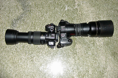 GH2+100-300(zoomed)+hood (left), FZ30+TC-E17ED+hood (right)
