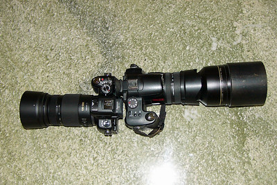 GH2+100-300+hood (left), FZ30+TC-E17ED+hood (right)