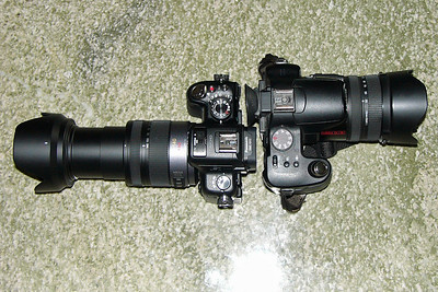 GH2+14-140(zoomed)+hood (left), FZ30+hood (right)