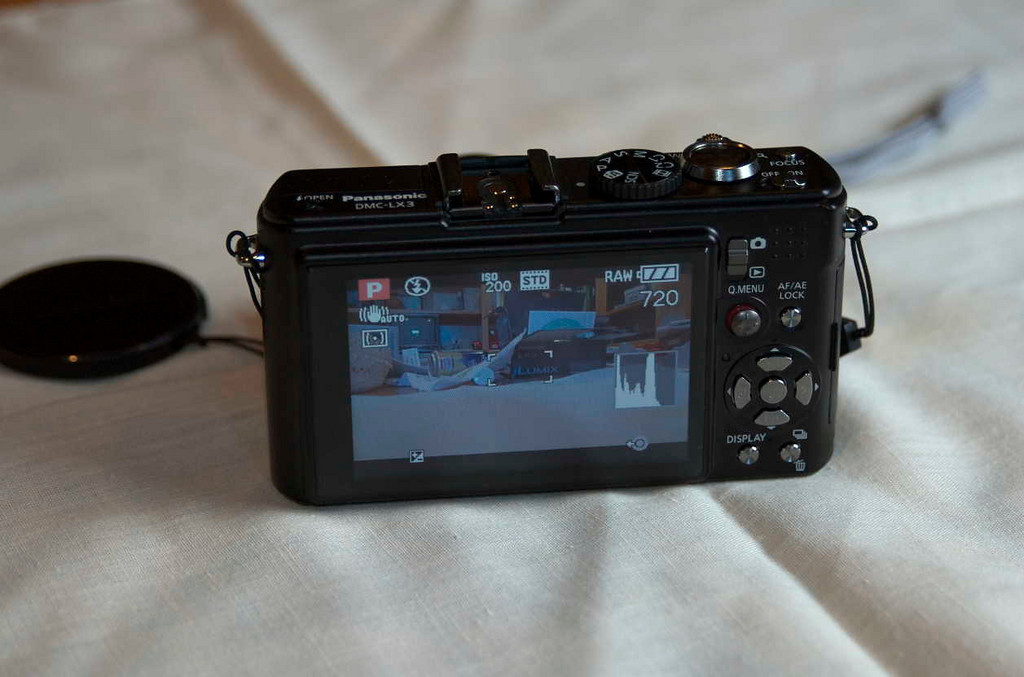 Back of the camera showing those controls and the view of the LCD.