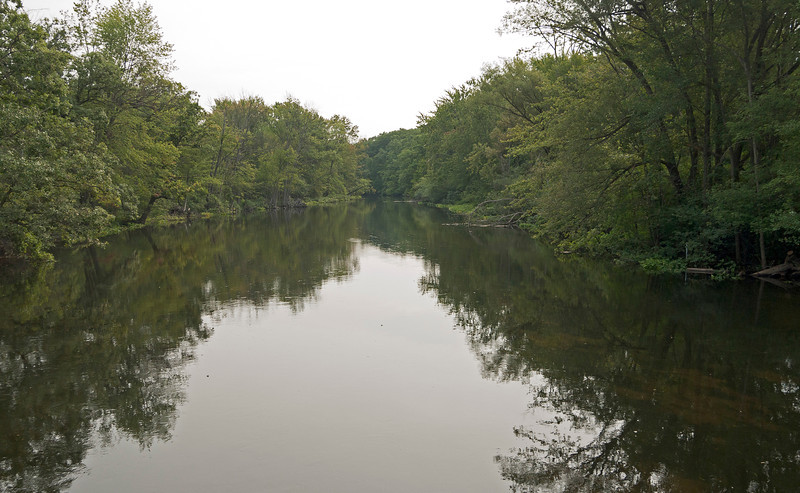 Huron River where the Lakelands Trail crosses it, west of Hamburg MI, east of Pickney MI