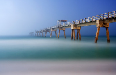 Navarre Beach Pier in the Night Fog