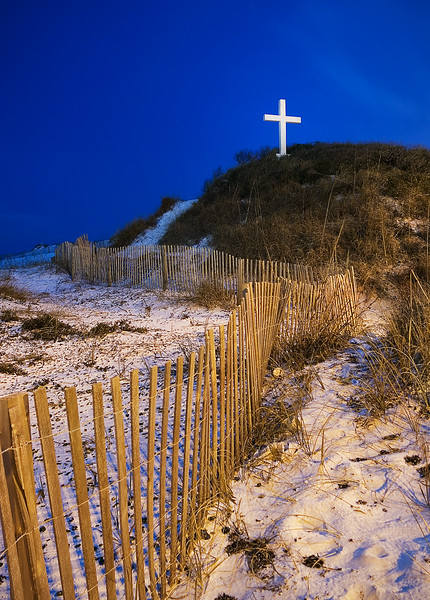 The Beach Cross at Night