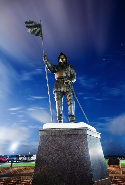 Don Tristan de Luna Statue at Night