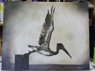 "My friend Aaron's painting of ""Flying Leap"". Sold at a charity auction."