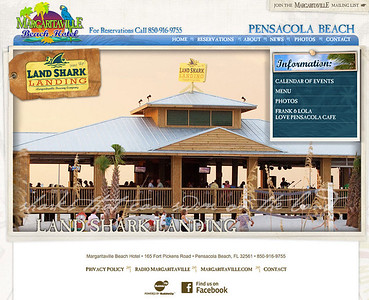 Various images for the Margaritaville Hotel on Pensacola Beach. This is the background photo on the Landshark Landing section.