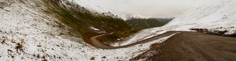 Road to Hatcher's Pass, fresh Summer snow, June 23, 2006. (4 shot photo-merge)
