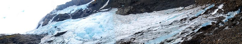Stitched pano of Byron Glacier from the top of a morain/scree pile. This was a good climb from the valley floor.