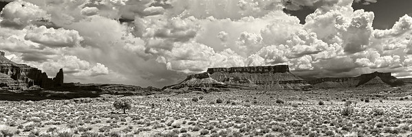 Fisher and Titan Towers are located just north and east of Moab, Utah along State Route 128.  The towers are best photographed in late afternoon although this image was taken at mid day capturing the gathering thunder heads.              This image is best printed in a 1x3 aspect ratio.