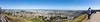 San Francisco from Twin Peaks, March 2015. Panormaic field of view: 203 by 44 degrees.