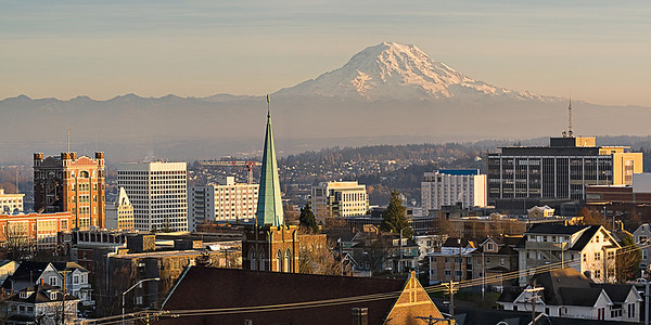The Tacoma skyline and Mount Rainier from the 8th floor of Tacoma General Hospital.                         This image is best printed in a 1x2 aspect ratio.