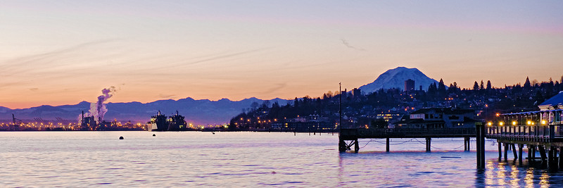 Panoramic image of the Tacoma, WA waterfront and Mount Rainier at sunrise.                                     This image is best printed in a 1x3 aspect ratio.