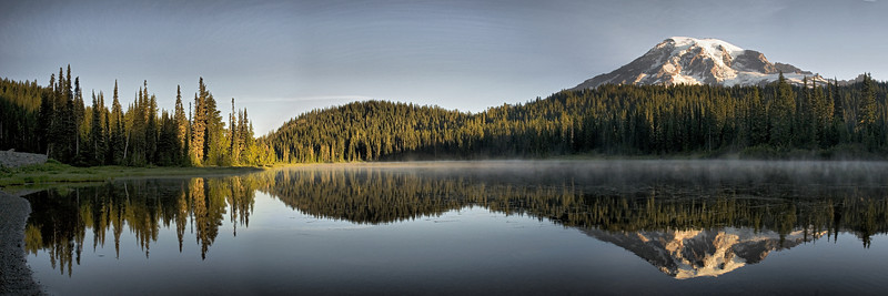 Three image panorama from Mount Rainier National Park on September 4, 2008.  This image is best printed in a 1x3 aspect ratio.